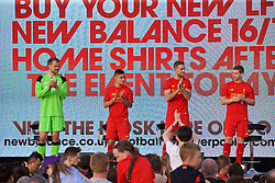LIVERPOOL, ENGLAND - Monday, May 9, 2016: Liverpool's goalkeeper Simon Mignolet, Philippe Coutinho Correia, captain Jordan Henderson and Jon Flanagan at the launch of the New Balance 2016/17 Liverpool FC kit at a live event in front of supporters at the Royal Liver Building on Liverpool's historic World Heritage waterfront. (Pic by David Rawcliffe/Propaganda)