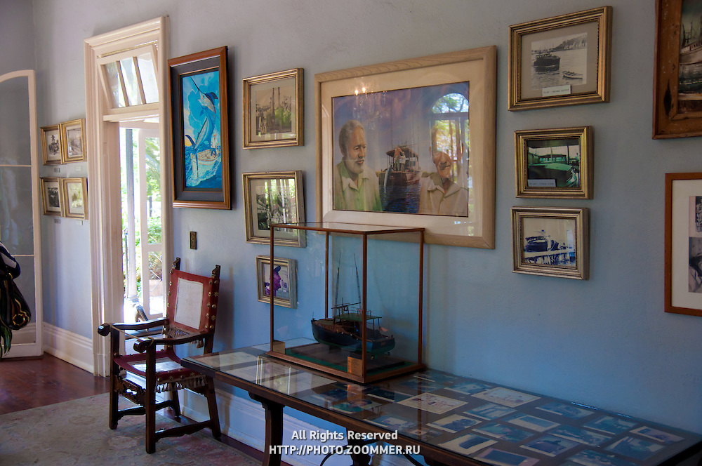 Ernest Hemingway home interior, 1st floor, Key West, Florida