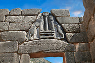 Mycenae Lion Gate & citadel walls built in 1350 B.C and its cyclopean style walls due to the vast size of the blocks. Mycenae Archaeological Site . <br /> <br /> Visit our MYCENAEN ART PHOTO COLLECTIONS for more photos to download  as wall art prints https://funkystock.photoshelter.com/gallery-collection/Pictures-Images-of-Ancient-Mycenaean-Art-Artefacts-Archaeology-Sites/C0000xRC5WLQcbhQ<br /> .<br /> <br /> Visit our GREEK HISTORIC PLACES PHOTO COLLECTIONS for more photos to download or buy as wall art prints https://funkystock.photoshelter.com/gallery-collection/Pictures-Images-of-Greece-Photos-of-Greek-Historic-Landmark-Sites/C0000w6e8OkknEb8