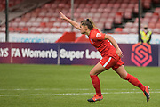 Birmingham City Defender Georgia Brougham (16) scores a penalty & Birmingham City FC are through to the semi-finals during the Women's FA Cup match between Brighton and Hove Albion Women and Birmingham City Women at The People's Pension Stadium, Crawley, England on 27 September 2020.