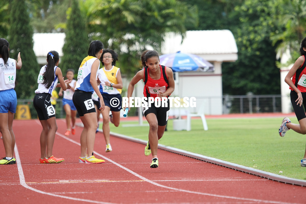 Choa Chu Kang Sports Complex, Wednesday, April 17, 2013 — Hwa Chong Institution (HCI) won the A Division girls' 4×400 metres relay gold by a whisker at the 54th National Schools Track and Field Championships while Singapore Sports School swept both the C and B Division girls' 4x400m relay finals.<br /> <br /> Story: http://www.redsports.sg/2013/04/22/girls-4x400m-relays-singapore-sports-school-hwa-chong-institution/