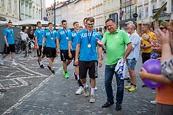 Team Slovenia during reception of Slovenian U20 handball players after winning gold at 2018 EHF U20 Men's European Championship, on July 30, 2018 in Ljubljana, Slovenia. Photo by Urban Urbanc / Sportida