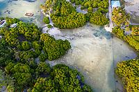 Aerial view of mangroves with a ship wreck, Huraa, North Malé Atoll, Maldives, Indian Ocean