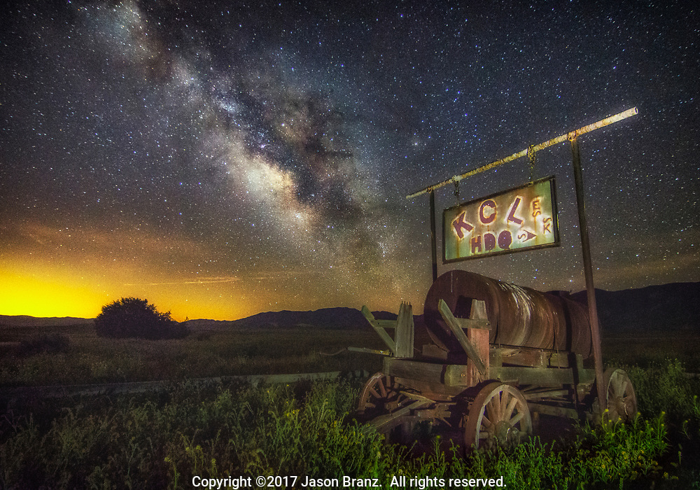 Milky Way over an old sign in Carrizo Plain National Monument, California.