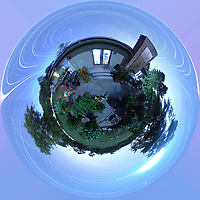 Summertime Night Sky over New Jersey (360 Little Planet View). Composite of 358 images taken with a Ricoh Theta Z1 camera (ISO 400, dual 2.6 mm fisheye lens, f/2.1, 60 sec).