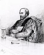 Thomas Grainger Stewart (1837-1900) Scottish physician. Professor of the Practice of Medicine,  Edinburgh University (1876-1900). Etching from 'Quasi Cursores' by George Hole (Edinburgh, 1884).