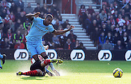 Fernandinho of Manchester City is challenged by Morgan Schneiderlin of Southampton<br />  - Barclays Premier League - Southampton vs Manchester City - St Mary's Stadium - Southampton - England - 30th November 2014 - Pic Robin Parker/Sportimage