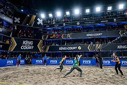 "Agatha Bednarczuk BRA, Eduarda Santos Lisboa ""Duda"" BRAin action during the last day of the beach volleyball event King of the Court at Jaarbeursplein on September 12, 2020 in Utrecht."