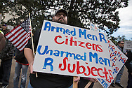 """January 18, Baton Rouge,<br /> Matthew Streeter,at a pro-gun rally organized by """"Guns across America"""" on """"Gun Appreciation Day"""" says, <br /> """"People have not outgrown the capacity for evil<br /> so the need for the 2nd amendment is now and vital as it ever was.""""<br />  After the massacre at  a school in Sandy Hook, Connecticut , the debate over gun control in America became a key political issue."""