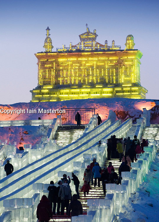 Fantastic illuminated ice sculptures at night during the annual Harbin ice lantern festival in northern China
