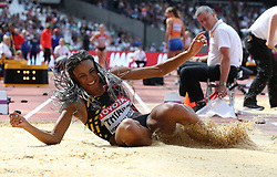 Belgium's Nafissatou Thiam competes in the Long Jump element of the Heptathlon during day three of the 2017 IAAF World Championships at the London Stadium.