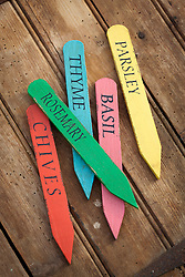 Colourful wooden herb labels