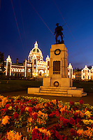 British Columbia Parliament Building and War Monument at Night, Victoria, Canada