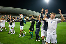 Florian Stahel (R) and Players of Zurich celebrate after Third Round of Champions League qualifications football match between NK Maribor and FC Zurich,  on August 05, 2009, in Ljudski vrt , Maribor, Slovenia. Zurich won 3:0 and qualified to next Round. (Photo by Vid Ponikvar / Sportida)