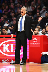 March 8, 2019 - Los Angeles, CA, U.S. - LOS ANGELES, CA - MARCH 08: Oklahoma City Thunder head coach Billy Donovan looks on during a NBA game between the Oklahoma City Thunder and the Los Angeles Clippers on March 8, 2019 at STAPLES Center in Los Angeles, CA. (Photo by Brian Rothmuller/Icon Sportswire) (Credit Image: © Brian Rothmuller/Icon SMI via ZUMA Press)