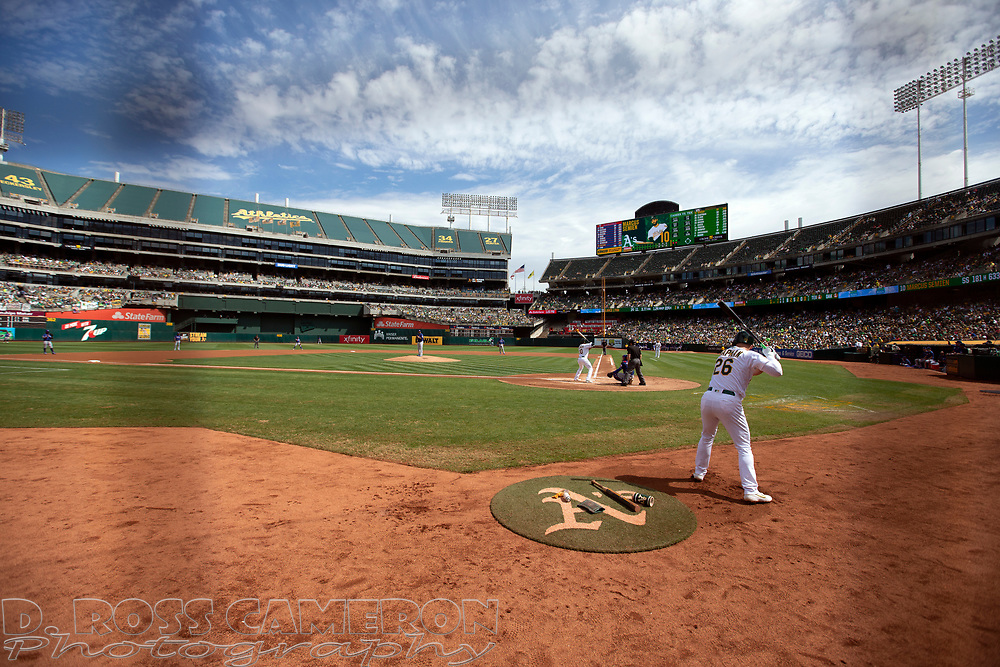 Oakland Athletics' Matt Chapman (26) awaits his turn at bat agains the Texas Rangers during the first inning of a baseball game, Sunday, Sept. 22, 2019, in Oakland, Calif. (AP Photo/D. Ross Cameron)