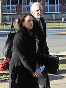 CHARLOTTESVILLE, VA - FEBRUARY 13: Defense attorneys Francis McQ. Lawrence, right, and Rhonda Quagliana, left, walk to the Charlottesville Circuit courthouse for the George Huguely trial. Huguely was charged in the May 2010 death of his girlfriend Yeardley Love. She was a member of the Virginia women's lacrosse team. Huguely pleaded not guilty to first-degree murder. (Credit Image: © Andrew Shurtleff/