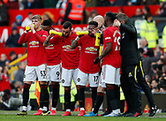 Manchester United players taking on hydration during the Premier League match at Old Trafford, Manchester. Picture date: 8th March 2020. Picture credit should read: Darren Staples/Sportimage
