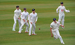 The Sussex slip cordon look on as Somerset's James Hildreth cuts the ball past them. - Photo mandatory by-line: Harry Trump/JMP - Mobile: 07966 386802 - 06/07/15 - SPORT - CRICKET - LVCC - County Championship Division One - Somerset v Sussex- Day Two - The County Ground, Taunton, England.