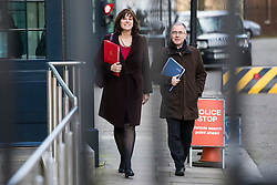 © Licensed to London News Pictures. 16/01/2018. London, UK. Minister of State at Department for Business, Energy and Industrial Strategy Claire Perry (L) leaves Downing Street after the weekly Cabinet meeting. Photo credit: Rob Pinney/LNP