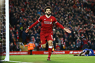 Mohamed Salah of Liverpool celebrates after scoring his teams 2nd goal to make it 2-1. Premier League match, Liverpool v Leicester City at the Anfield stadium in Liverpool, Merseyside on Saturday 30th December 2017.<br /> pic by Chris Stading, Andrew Orchard sports photography.