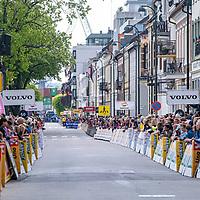 Fra spurten i Kristiansand under Tour Of Norway sykkelritt etappe 2: Lyngdal - Kristiansand.