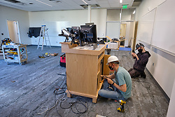 Construction to house nursing in the former Garfield Book store, Tuesday, Aug. 11, 2020, at PLU. (Photo/John Froschauer)