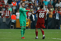 ISTANBUL, TURKEY - AUGUST 14: Adrian (L) and Trent Alexander-Arnold of Liverpool during penalty shoot-out during the UEFA Super Cup match between Liverpool and Chelsea at Vodafone Park on August 14, 2019 in Istanbul, Turkey. (Photo by MB Media/Getty Images)