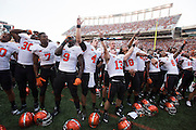 AUSTIN, TX - SEPTEMBER 26:  The Oklahoma State Cowboys celebrate after defeating the Texas Longhorns on September 26, 2015 at Darrell K Royal-Texas Memorial Stadium in Austin, Texas.  (Photo by Cooper Neill/Getty Images) *** Local Caption ***
