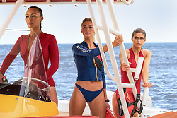 RELEASE DATE: May 26, 2017 TITLE: Baywatch STUDIO: Paramount Pictures DIRECTOR: Seth Gordon PLOT: Two unlikely prospective lifeguards vie for jobs alongside the buff bodies who patrol a beach in California STARRING: Ilfenesh Hadera as Stephanie Holden, Kelly Rohrbach as CJ Parker and Alexandra Daddario as Summer. (Credit: © Paramount Pictures/Entertainment Pictures/ZUMAPRESS.com)