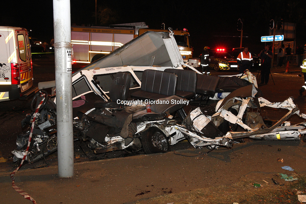 DURBAN - 5 September 2013 - All that remains of a taxi that was hit by a lorry in a horror crash that claimed the lives of 24 people were killed when a lorry's brakes failed on Field's Hill in Pinetown and ploughed through four taxis and a car. Picture: Allied Picture Press/APP