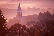 Morning Misty Mountains, Church at Brookville, Jefferson Co., PA.