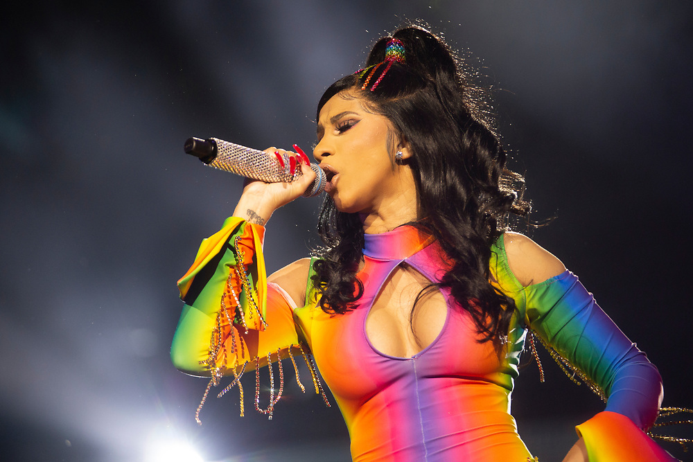 Cardi B performing at the Made In America Festival in Philadelphia, PA on August 31, 2019.