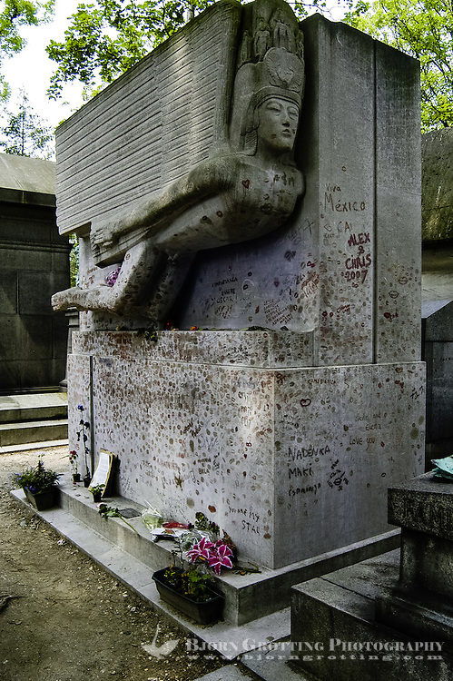 Père Lachaise Cemetery is the largest cemetery in the city of Paris, France. The grave of Oscar Wilde.