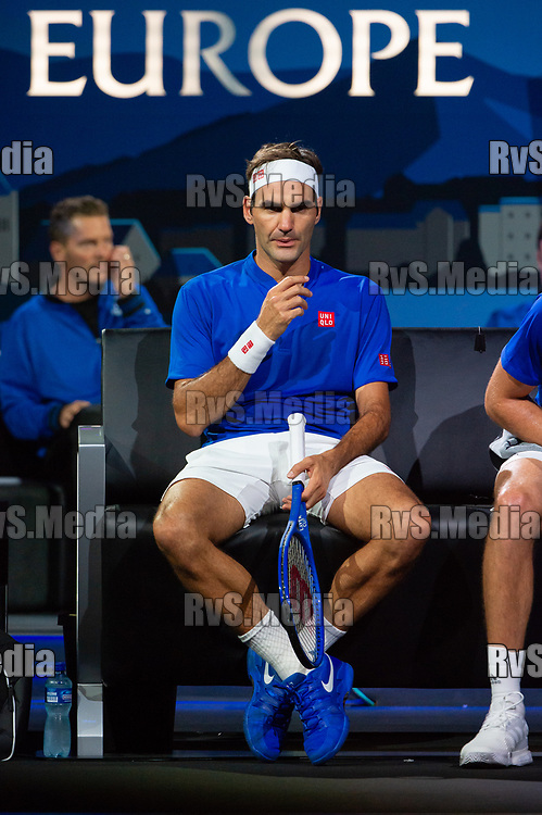 GENEVA, SWITZERLAND - SEPTEMBER 22: Roger Federer of Team Europe looks on during Day 3 of the Laver Cup 2019 at Palexpo on September 20, 2019 in Geneva, Switzerland. The Laver Cup will see six players from the rest of the World competing against their counterparts from Europe. Team World is captained by John McEnroe and Team Europe is captained by Bjorn Borg. The tournament runs from September 20-22. (Photo by Robert Hradil/RvS.Media)