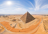 Panoramic aerial view of the Great Pyramids of Giza in Egypt