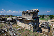 Picture of Roman sacrcophagi on a Tomb North Necropolis. Hierapolis archaeological site near Pamukkale in Turkey. .<br /> <br /> If you prefer to buy from our ALAMY PHOTO LIBRARY  Collection visit : https://www.alamy.com/portfolio/paul-williams-funkystock/pamukkale-hierapolis-turkey.html<br /> <br /> Visit our TURKEY PHOTO COLLECTIONS for more photos to download or buy as wall art prints https://funkystock.photoshelter.com/gallery-collection/3f-Pictures-of-Turkey-Turkey-Photos-Images-Fotos/C0000U.hJWkZxAbg