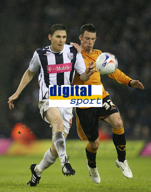 Photo: Rich Eaton.<br /> <br /> West Bromwich Albion v Wolverhampton Wanderers. Coca Cola Championship. Play off Semi Final 2nd Leg. 16/05/2007. Wolves Michael McIndoe is beaten o the ball by Zoltan Gera left