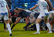 Sale Sharks hooker Curtis Langdon looks for the line during a Gallagher Premiership Round 11 Rugby Union match, Friday, Feb 26, 2021, in Eccles, United Kingdom. (Steve Flynn/Image of Sport)