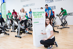 "© Licensed to London News Pictures . 01/03/2016 . Manchester , UK . Hollyoaks actress JENNIFER METCALFE (signing her autograph) launches a national fundraiser , "" The Better Bike Challenge "" from the East Manchester Leisure Centre in Beswick . The Challenge features 10,000 people cycling one-mile , each donating £1 to #TeamBetter for Sport Relief . Photo credit : Joel Goodman/LNP"