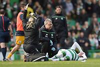 06/03/16 WILLIAM HILL SCOTTISH CUP QUARTER-FINAL<br /> CELTIC v MORTON<br /> CELTIC PARK - GLASGOW<br /> Celtic's Stefan Johansen lies injured on the pitch