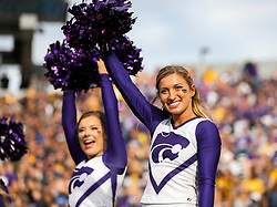 Sep 22, 2018; Morgantown, WV, USA; A Kansas State Wildcats cheerleader performs during the third quarter against the West Virginia Mountaineers at Mountaineer Field at Milan Puskar Stadium. Mandatory Credit: Ben Queen-USA TODAY Sports