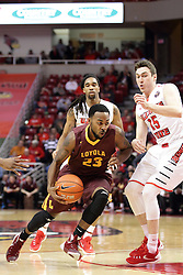 06 January 2016: Jeff White(23) looks to get past defender Justin McCloud(15) during the Illinois State Redbirds v Loyola-Chicago Ramblers at Redbird Arena in Normal Illinois (Photo by Alan Look)