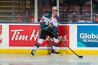 KELOWNA, CANADA - FEBRUARY 15:  Conner Bruggen-Cate #20 of the Kelowna Rockets skates with the puck against the Everett Silvertips on February 15, 2019 at Prospera Place in Kelowna, British Columbia, Canada.  (Photo by Marissa Baecker/Shoot the Breeze)