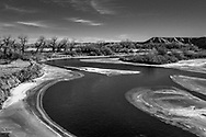"""Platte River, Wy.  Entering the Powder River Basin known as the """"Energy Center"""" for the United States."""