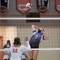 Miyamura's Brooklyn King (8) goes for a spike in their match against Gallup Thursday night at Gallup High School. The Gallup Bengals had a 22-25, 25-23, 25-22, 25-14 victory over the Miyamura Patriots.