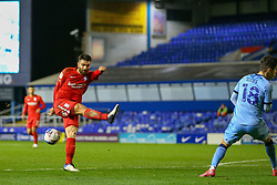 Birmingham City's Maxime Colin miscues a volley - Mandatory by-line: Nick Browning/JMP - 20/11/2020 - FOOTBALL - St Andrews - Birmingham, England - Coventry City v Birmingham City - Sky Bet Championship