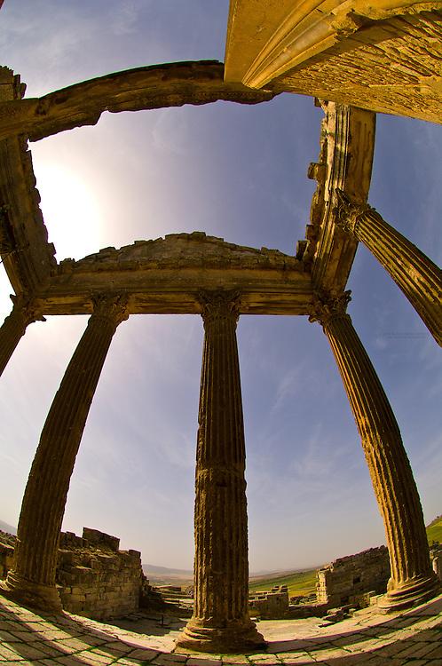 Capitoline Temple, Roman archeological ruins, Dougga, Tunisia
