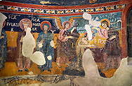 Twelfth century Romanesque frescoes of the Apse of Estaon depicting scenes from the middle register showing the Baptism of Christ by John The Baptist,  from the church of Sant Eulalia d'Estaon, Vall de Cardos, Catalonia, Spain. National Art Museum of Catalonia, Barcelona. MNAC 15969 .<br /> <br /> If you prefer you can also buy from our ALAMY PHOTO LIBRARY  Collection visit : https://www.alamy.com/portfolio/paul-williams-funkystock/romanesque-art-antiquities.html<br /> Type -     MNAC     - into the LOWER SEARCH WITHIN GALLERY box. Refine search by adding background colour, place, subject etc<br /> <br /> Visit our ROMANESQUE ART PHOTO COLLECTION for more   photos  to download or buy as prints https://funkystock.photoshelter.com/gallery-collection/Medieval-Romanesque-Art-Antiquities-Historic-Sites-Pictures-Images-of/C0000uYGQT94tY_Y