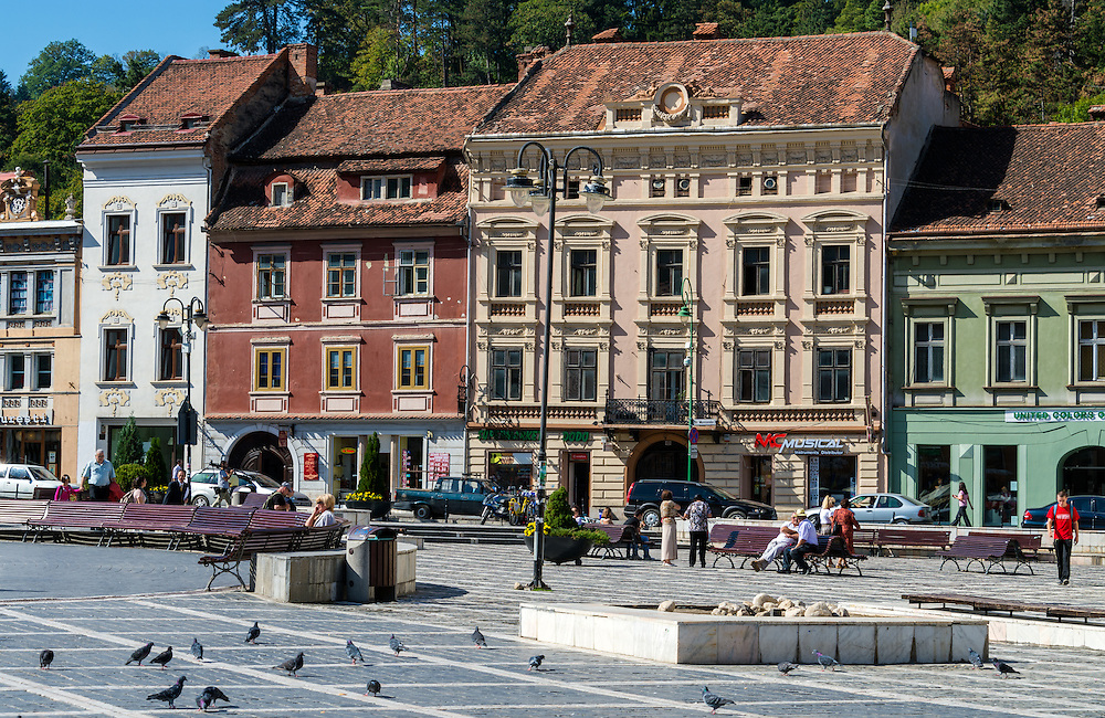 BRASOV, ROMANIA - October 2, 2012: View of the Pia?a Sfatului in Bra?ov, Romania, with 227,961 people living there is the 8th most populous city in Romania and a popular tourist destination.
